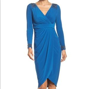 Adrianna Papell Embellished Wrap Dress Blue size 8